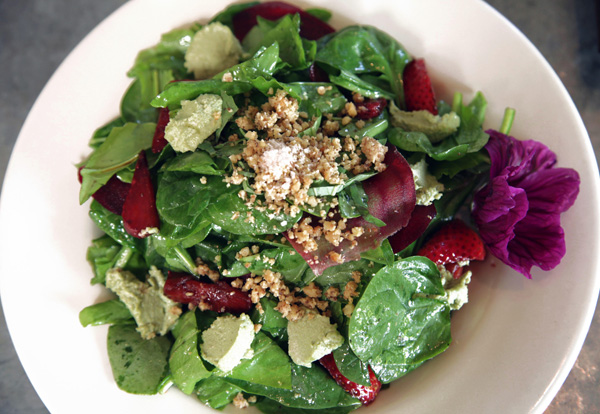 Cafe Flora Strawberry Sorel Salad