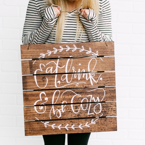 Made to order hanging wood palette handlettered with love! Eleven and West.