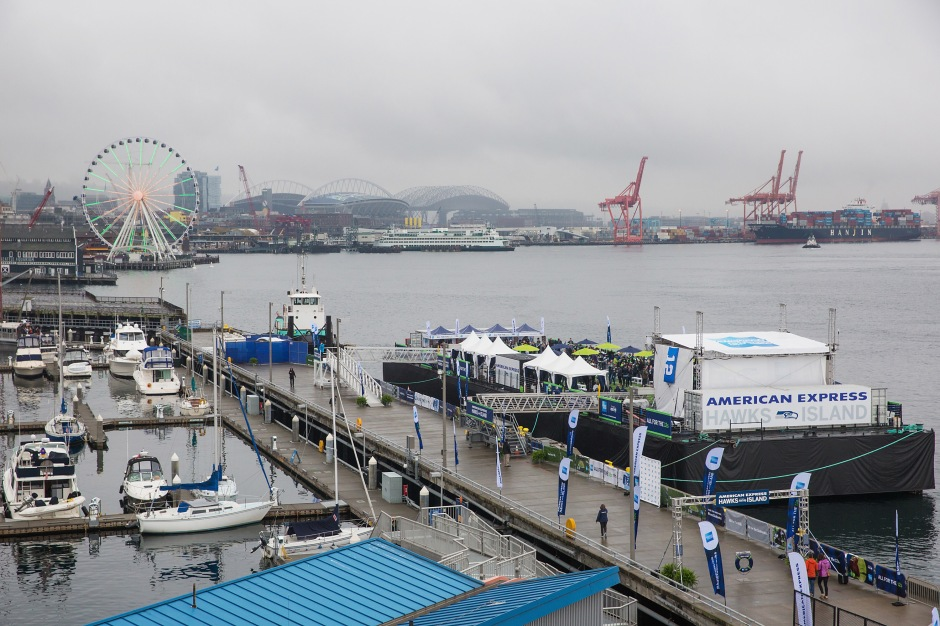 SEATTLE, WA - OCTOBER 18: General view of atmosphere as American Express hosts a never-before-seen pre-game experience for Seattle Seahawks fans and Card Members called American Express Hawks Island on a barge on the Puget Sound. on October 18, 2015 in Seattle, Washington. (Photo by Mat Hayward/Getty Images for American Express)